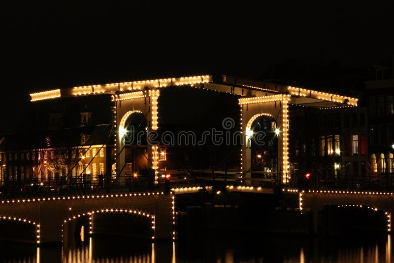 Download Thiny Bridge In Amsterdam By Night Stock Photo - Image: 1843320