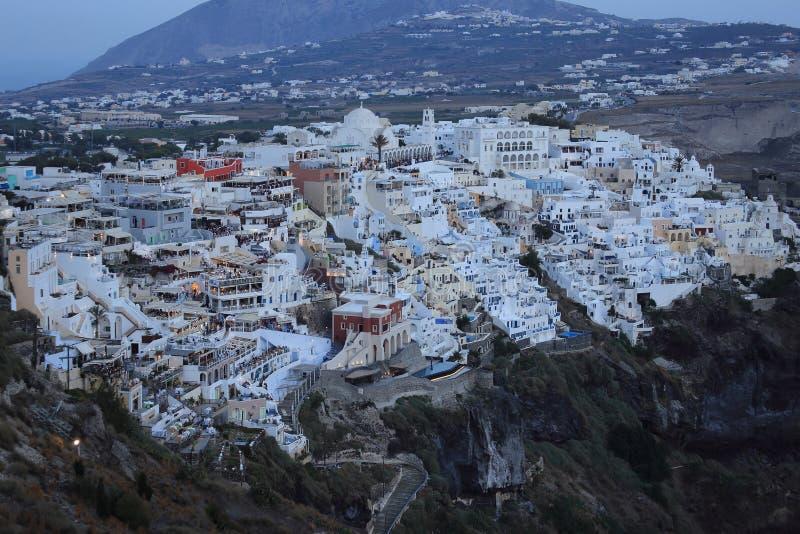 Thira早视界晚报在圣托里尼,希腊的 免版税库存照片