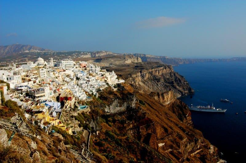Thira (Fira) Em Santorini, Greece Fotografia de Stock