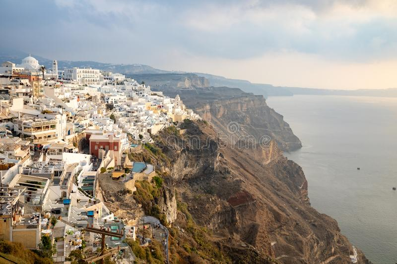 Thira, Santorini - 18.10.2018: Panoramic view Traditional famous white houses and churches in Thira town on Santorini royalty free stock photo
