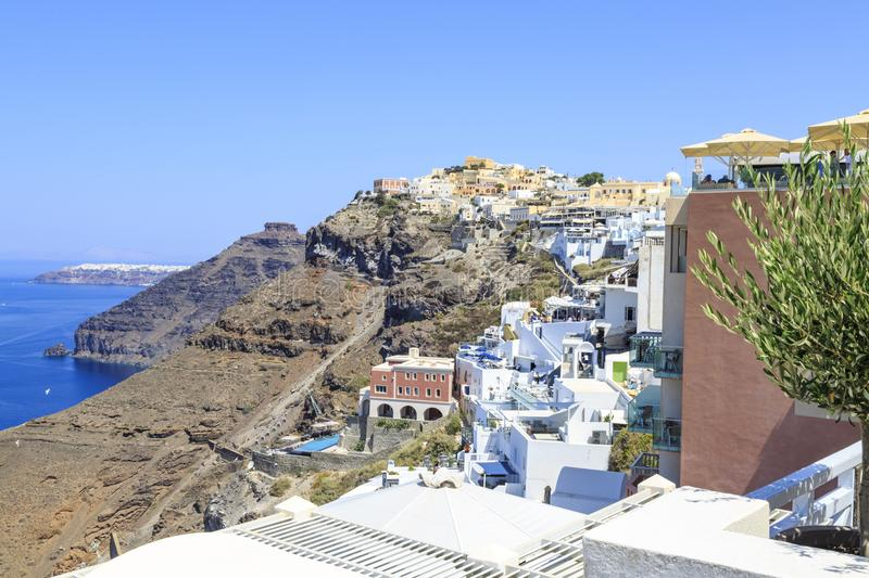 Thira town cityscape during daytime in Santorini, Greece royalty free stock images