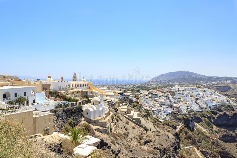 Thira town cityscape during daytime in Santorini, Greece stock photography