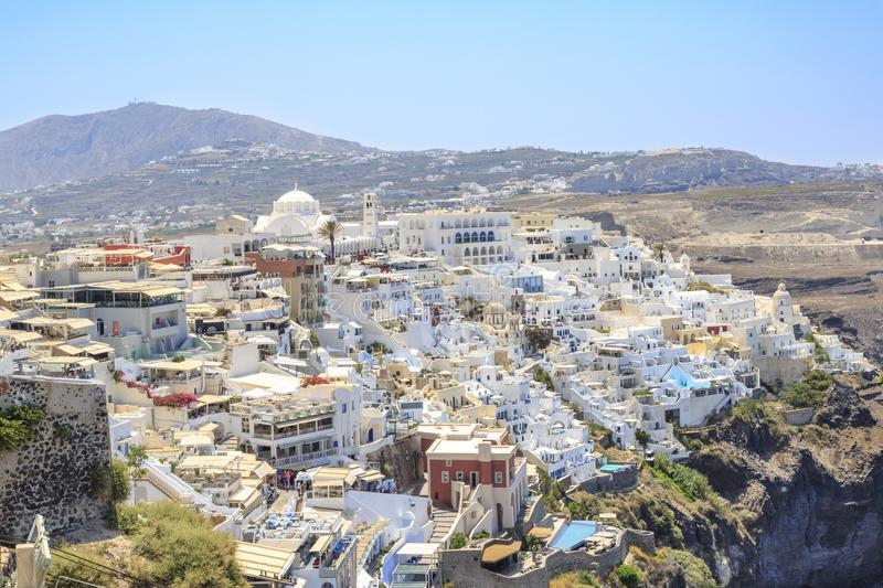 Thira town cityscape during daytime in Santorini, Greece royalty free stock photography
