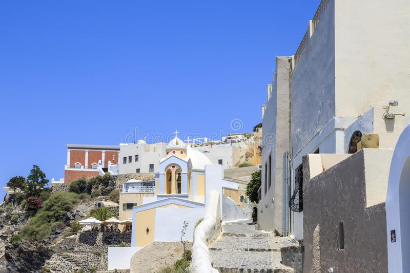 Thira town with St. Stylianos church during daytime in Santorini, Greece royalty free stock photos