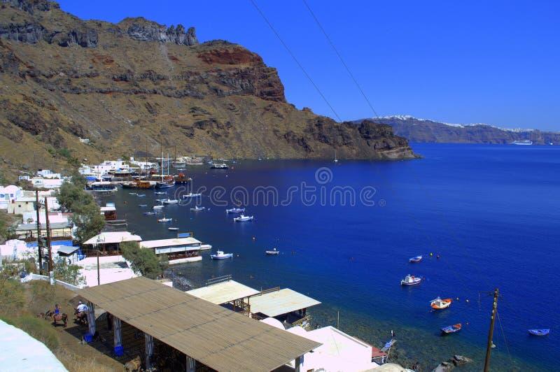 从Thirassia海岛,希腊的看法 免版税库存照片