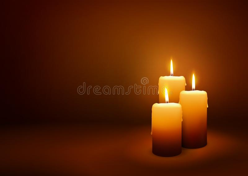 Third Advent - Greeting Card Template - Three Candles vector illustration