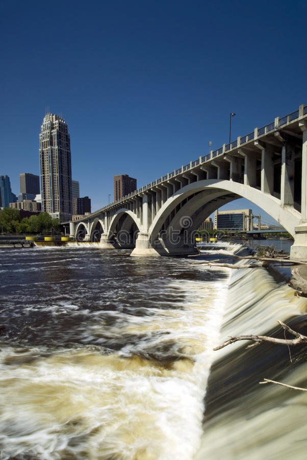Third Avenue Bridge above Saint Anthony Falls. Minneapolis, Minnesota, USA royalty free stock images