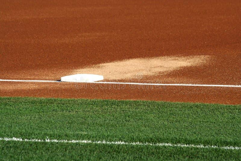 Third Base auf einem Baseballfeld lizenzfreies stockfoto