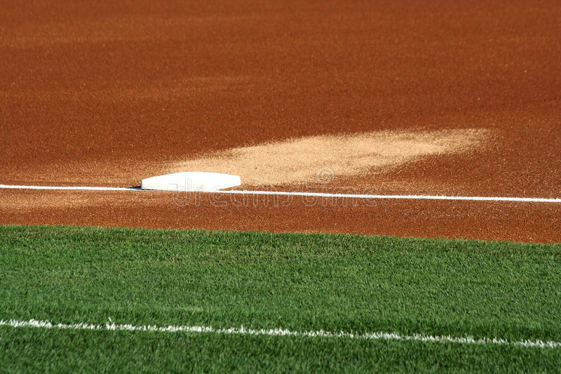 Third base on a baseball field royalty free stock photo