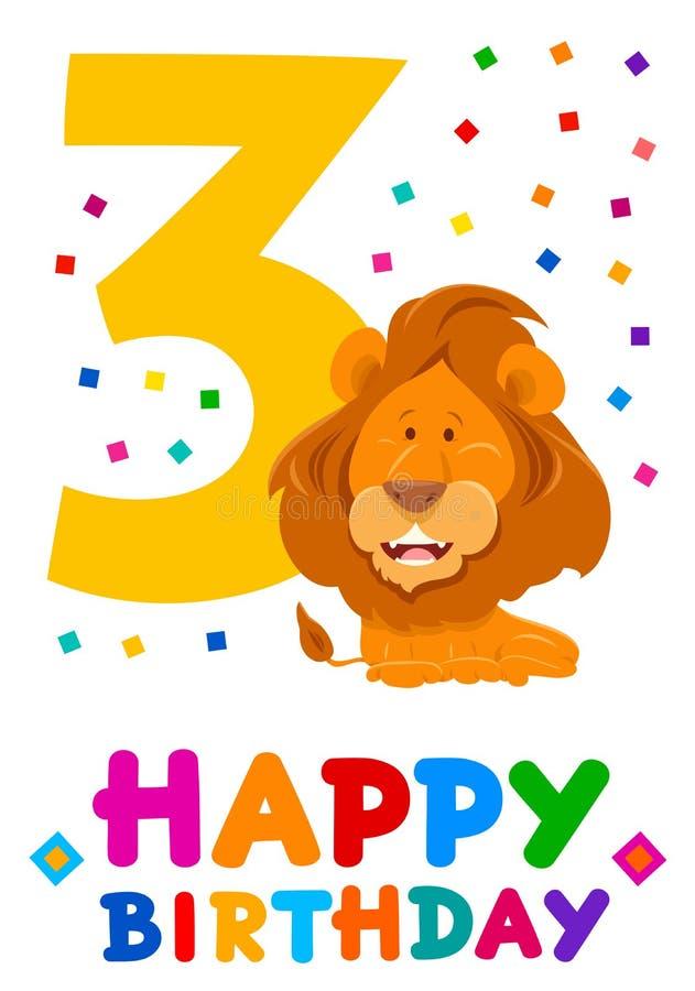 Third birthday cartoon greeting card design. Cartoon Illustration of the Third Birthday Anniversary Greeting Card Design vector illustration