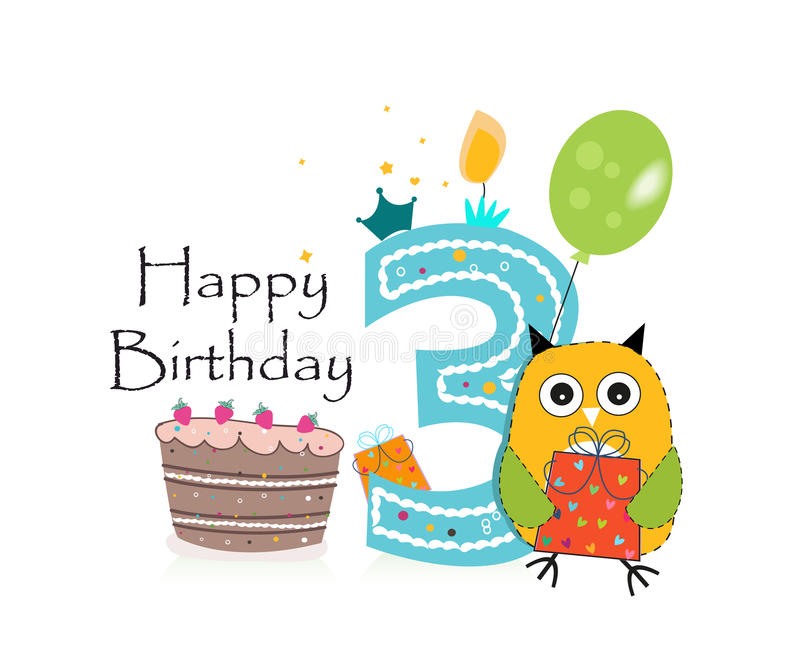 Third Birthday Greeting Card Cute Owl Balloon And Birthday Cake