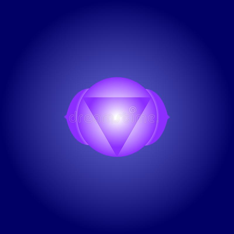 Third Eye chakra Ajna in Indigo color on dark blue space background. Isoteric flat icon. Geometric pattern. Vector royalty free illustration
