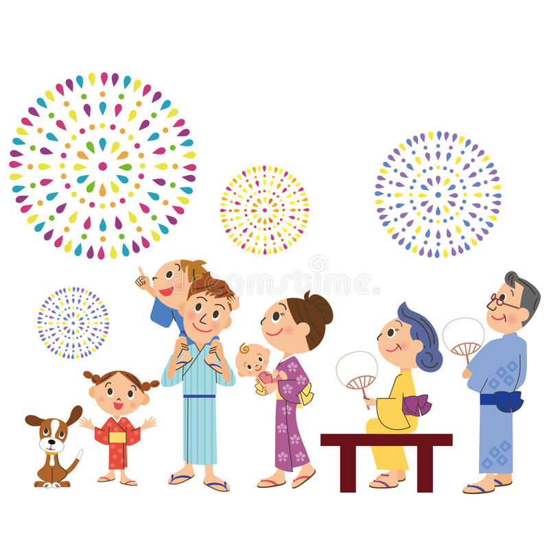 The third generation family to see fireworks vector illustration