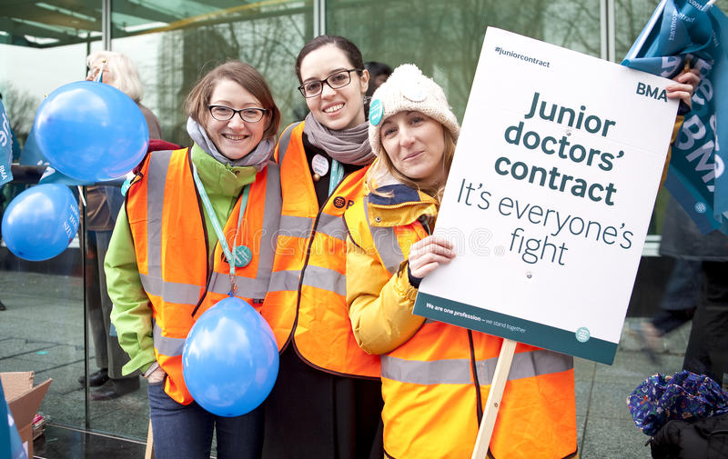 Third Junior Doctors' Strike. London, United Kingdom - March 9, 2016: The third junior doctors' strike this year has occurred as there seems to be no compromise royalty free stock images