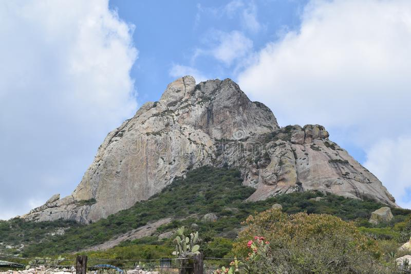 Third of the world`s largest mountain. Third largest rocky monolith in the world located in Bernal, Queretaro, Mexico. It is one of the tourist attractions of royalty free stock photography