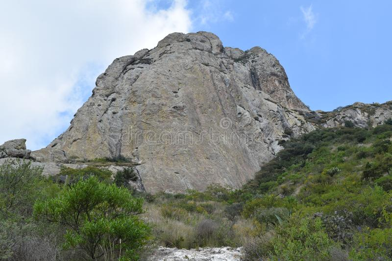 Third of the world`s largest mountain. Third largest rocky monolith in the world located in Bernal, Queretaro, Mexico. It is one of the tourist attractions of royalty free stock photo