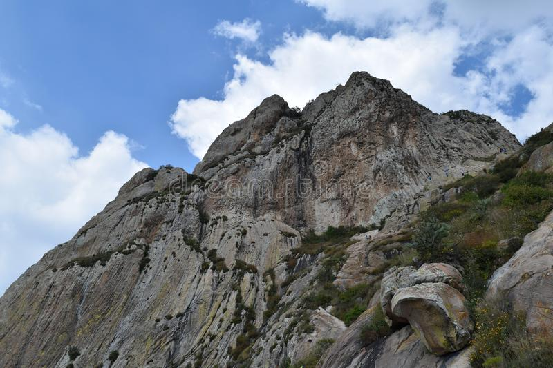 Third of the world`s largest mountain. Third largest rocky monolith in the world located in Bernal, Queretaro, Mexico. It is one of the tourist attractions of stock photos