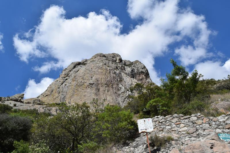 Third of the world`s largest mountain. Third largest rocky monolith in the world located in Bernal, Queretaro, Mexico. It is one of the tourist attractions of stock image