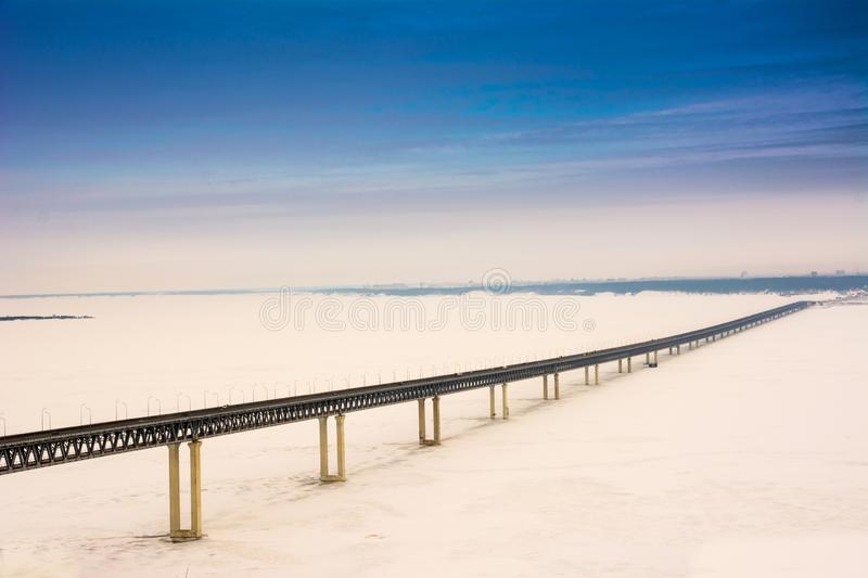 The third longest bridge in Russia.View of the Presidential Bridge in winter stock image