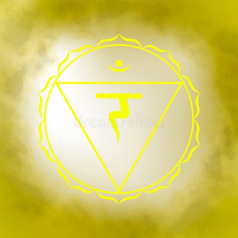 Third, solar plexus chakra - Manipura. Illustration of one of the seven chakras. The symbol of Hinduism, Buddhism. Yellow watercolor fog on background stock illustration