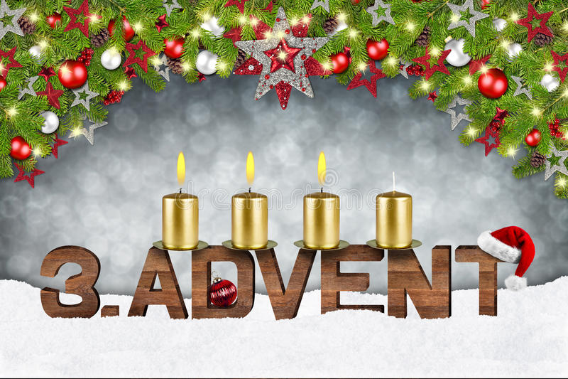 Third sunday of advent. Concept xmas background with candles ball bauble stars and red silver decorated fir branches stock illustration