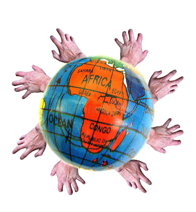 Third world aid...give a helping hand!. Photo of map of africa with helping hands encircling the globe depicting aid for third world countries stock photos
