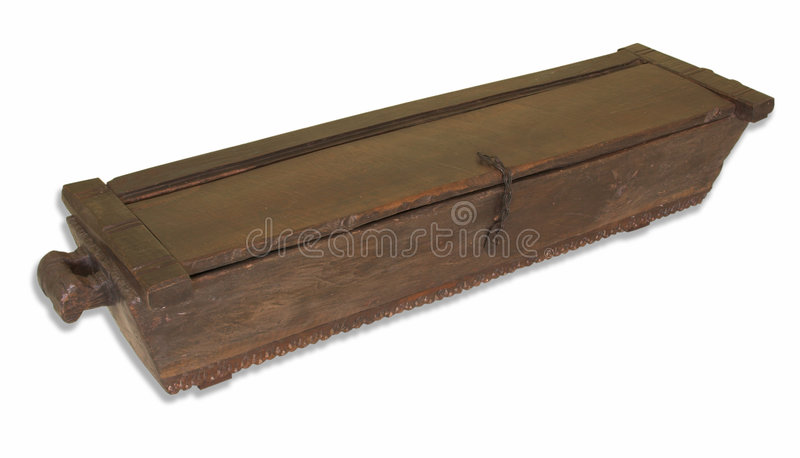 Third world coffin. Traditional antique Indian rice chest looking like third world AIDS coffin stock photo