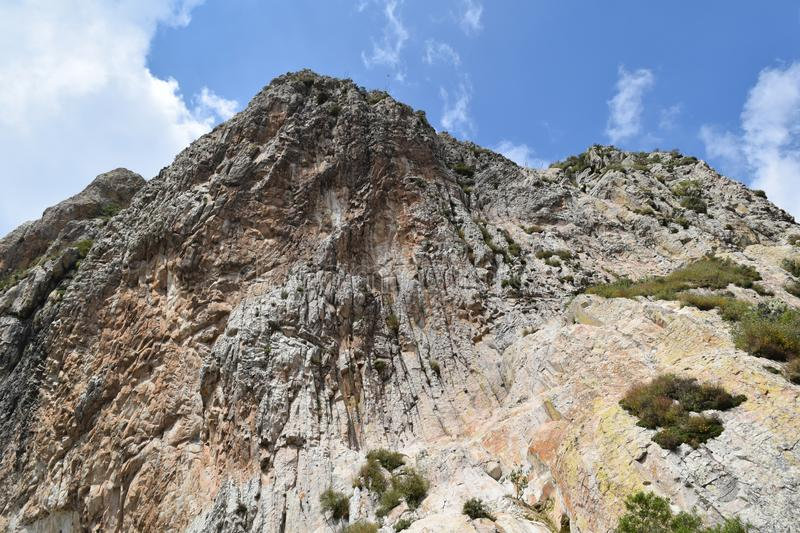 Third of the world`s largest mountain. Third largest rocky monolith in the world located in Bernal, Queretaro, Mexico. It is one of the tourist attractions of royalty free stock images