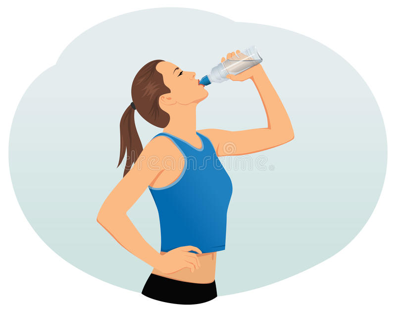 Thirst. Attractive young woman is drinking water from a plastic bottle. Fitness and health stock illustration