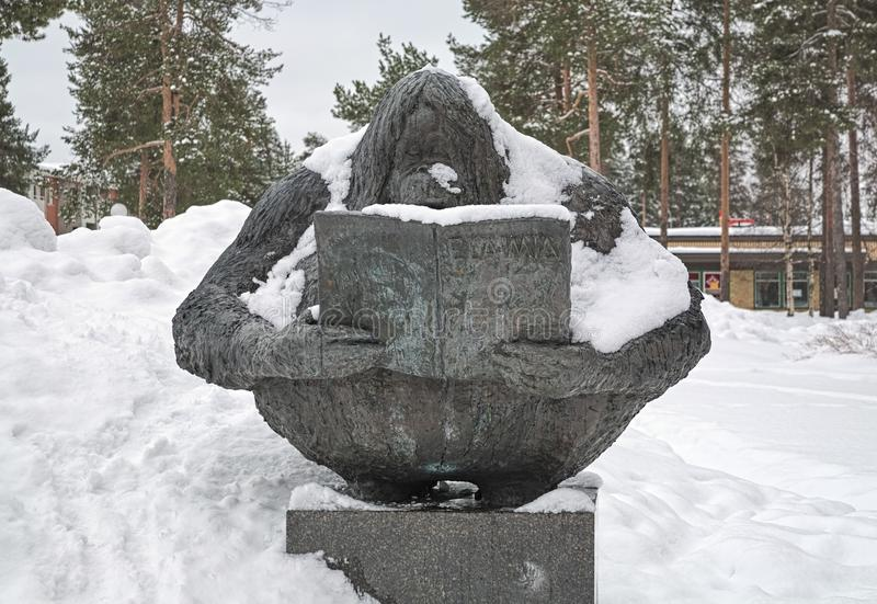 Thirst for Knowledge sculpture in Kaijonharju district of Oulu, Finland. Oulu, Finland. Tiedonjano - Thirst for Knowledge - sculpture depicting an ape which royalty free stock photos