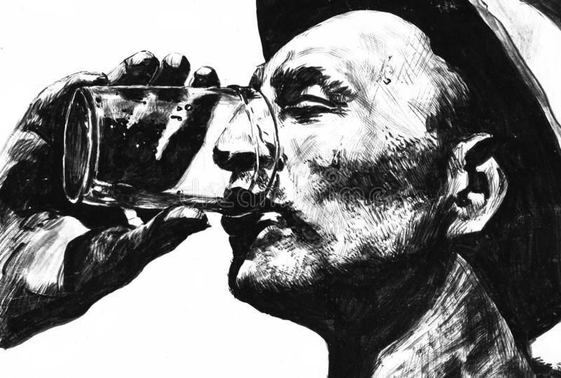 Thirst or Man With Drink. It is black and white ink drawing royalty free illustration