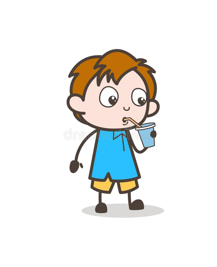 thirsty boy drinking water - cute cartoon kid vector stock vector