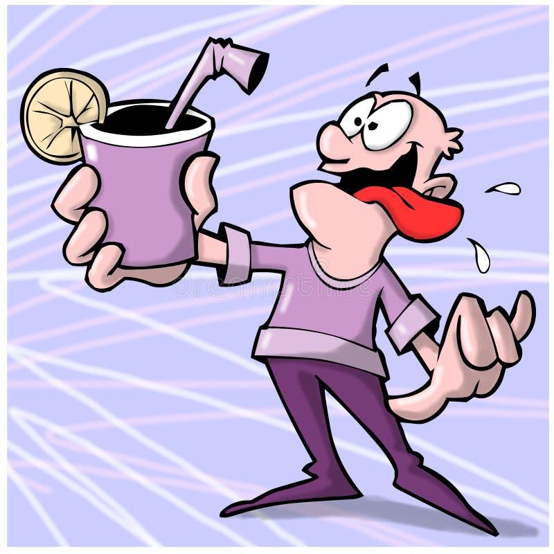 Thirsty man stock illustration