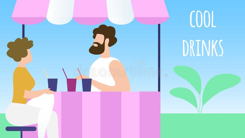 Thirsty Man Buying Cool Drinks in City Park Booth. vector illustration