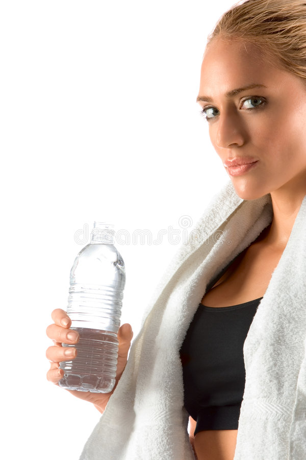 Thirsty woman in gym bottle stock photos
