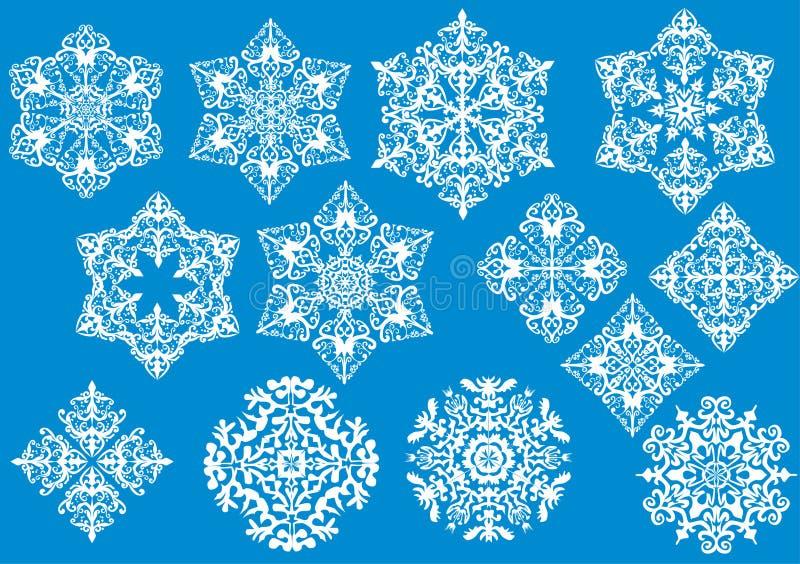 Thirteen white snowflakes collection royalty free illustration