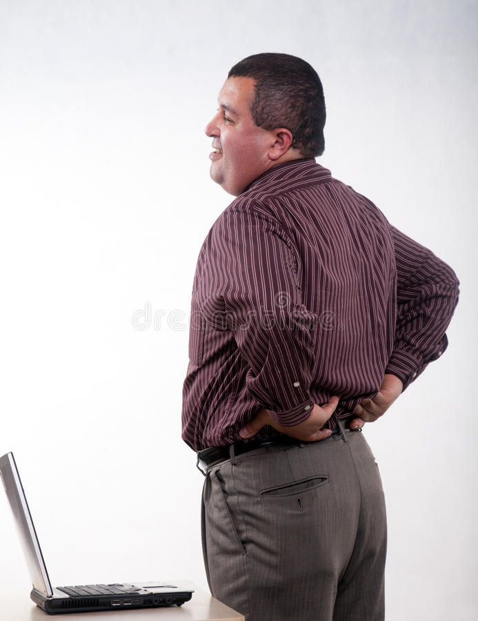 Free Thirties Hispanic Businessman Backpain Stock Image - 15791961