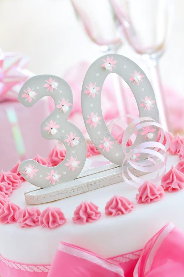 Thirtieth Birthday Cake Stock Photography