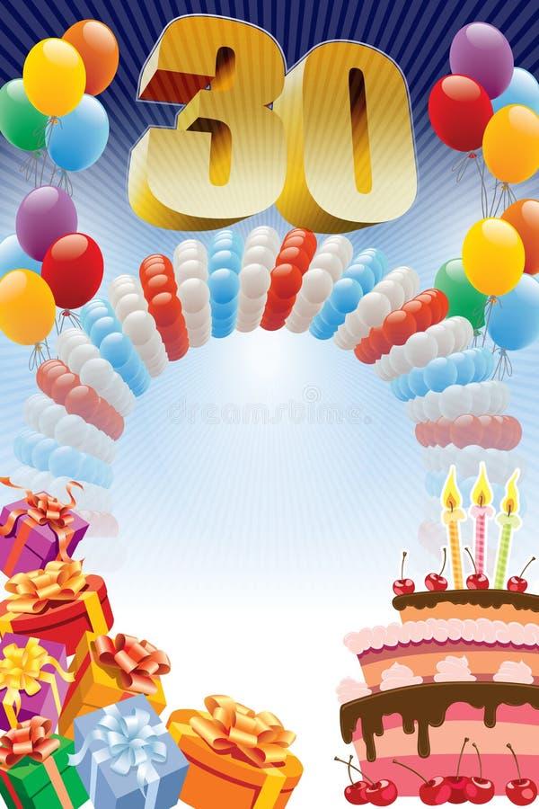 Thirtieth urodzinowy plakat ilustracja wektor