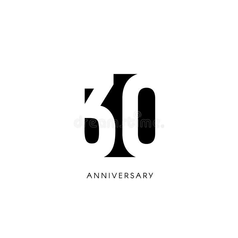 Thirty anniversary, minimalistic logo. Thirtieth years, 30th jubilee, greeting card. Birthday invitation. 30 year sign stock illustration