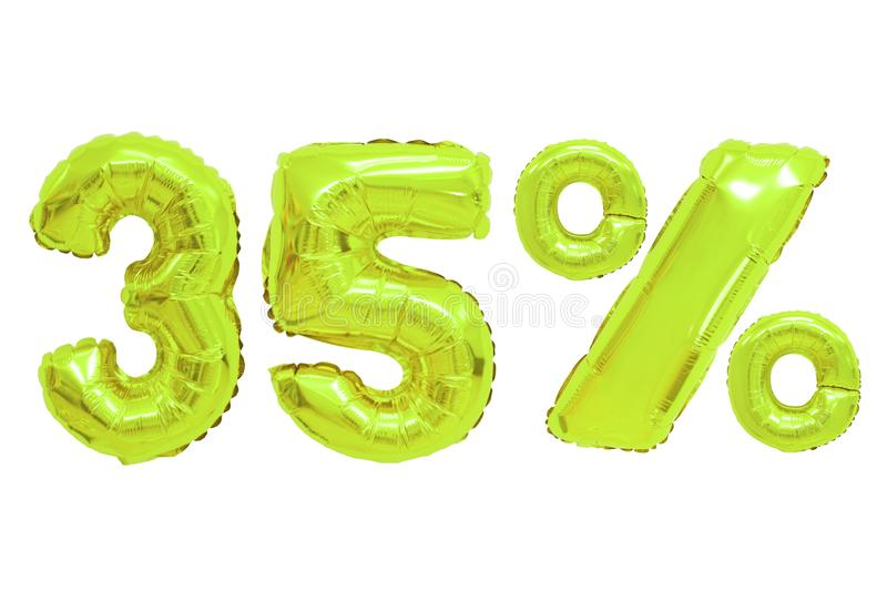 Thirty five percent from balloons lime color stock image