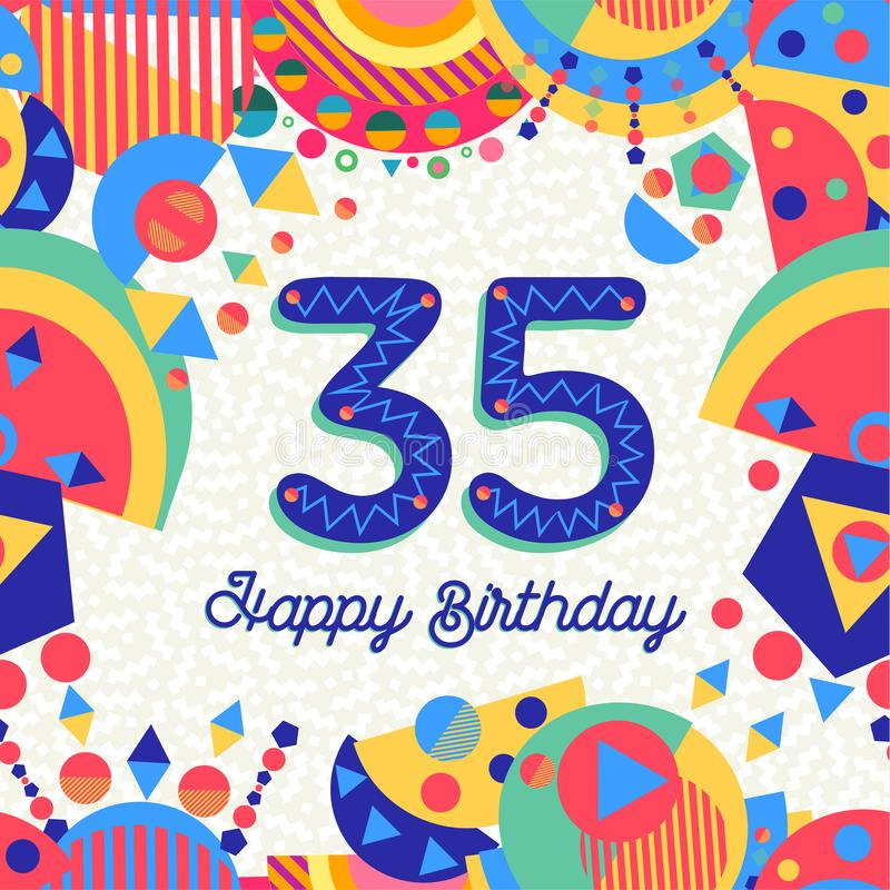35 Thirty five year birthday party greeting card royalty free illustration