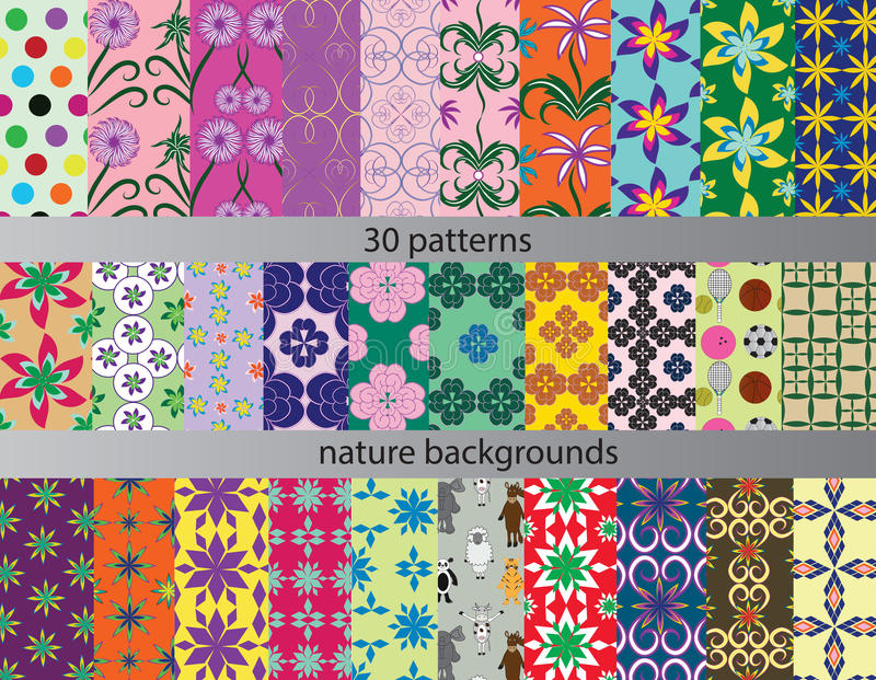Download Thirty Patterns Backgrounds Nature Stock Illustration - Illustration of wallpaper, textures: 43061278