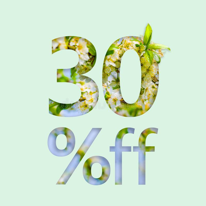 30% thirty percent off discount. The creative concept of spring sale, stylish poster, banner, promotion, ads. stock image