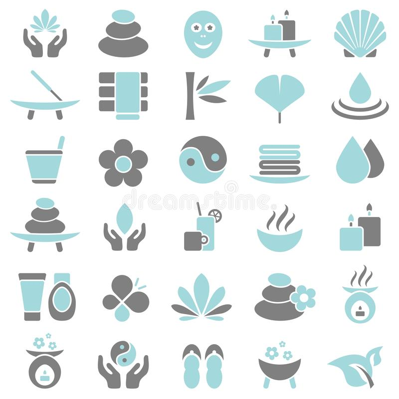 Thirty Wellness Icons Blue And Gray royalty free illustration