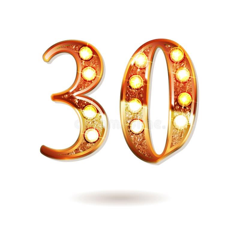 Thirty Years Anniversary Celebration Logotype Stock Vector