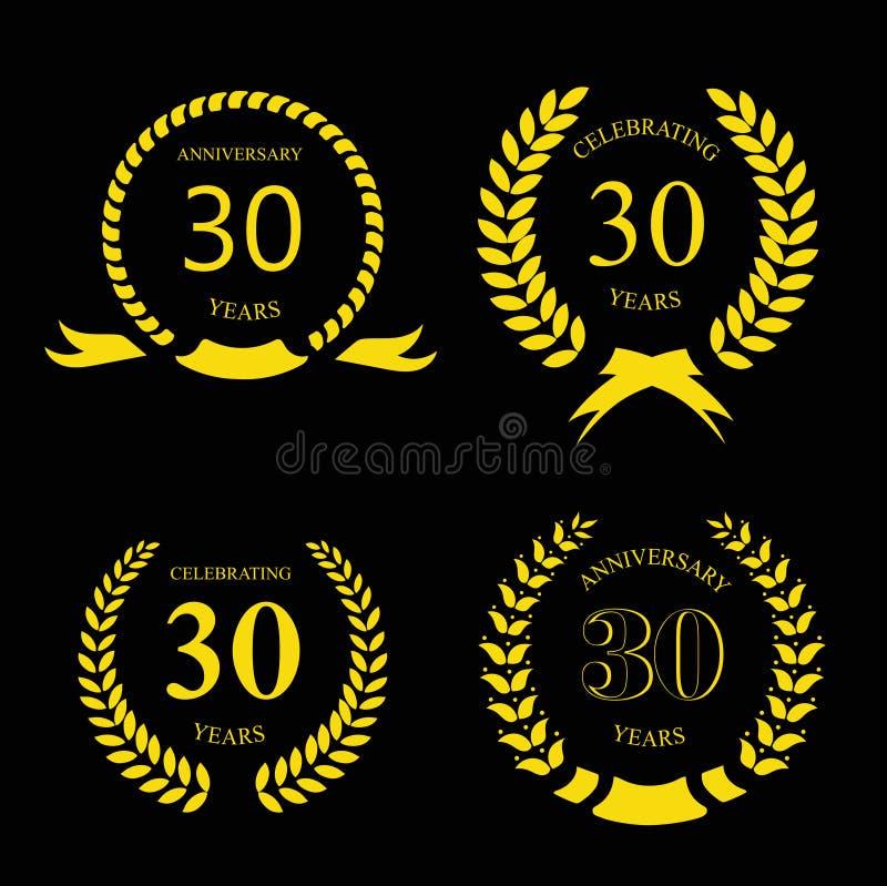 Thirty Years Anniversary Laurel Gold Wreath Set Stock Vector