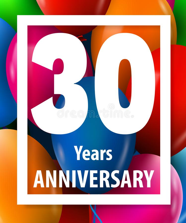 Thirty years anniversary. 30 years. Greeting card or banner concept. royalty free illustration