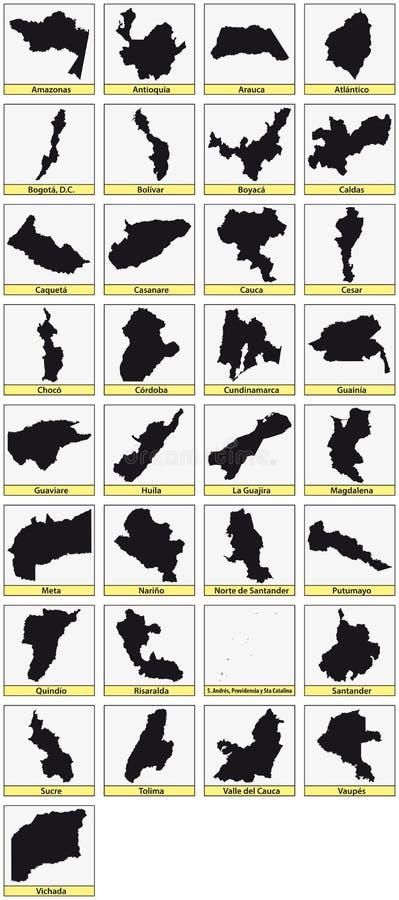 Thirtythree zwarte kaarten van de Ministerie van Colombia stock illustratie