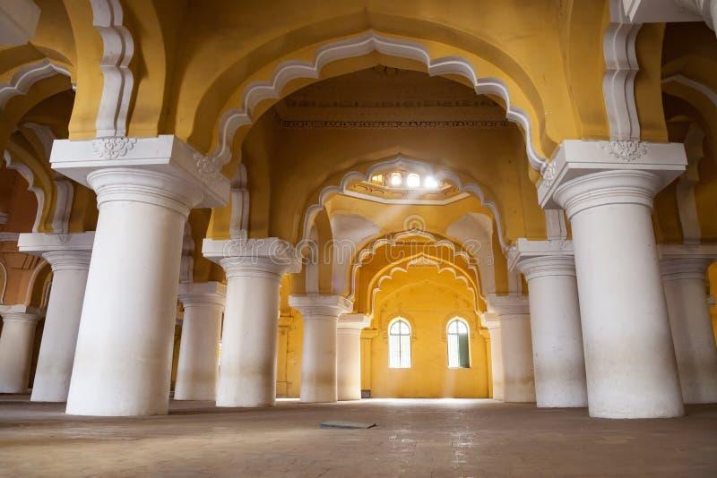 Thirumalai纳雅克宫殿在马杜赖 图库摄影